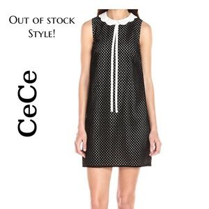 CeCe Black Velvet Perforated Dress w Petal Collar